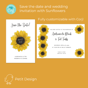 Sunflower wedding printables
