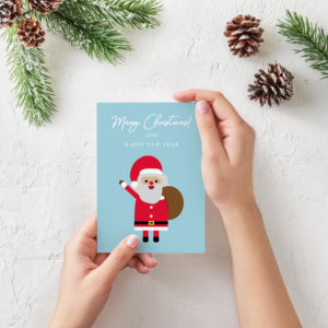 Digital Christmas card with Santa Claus